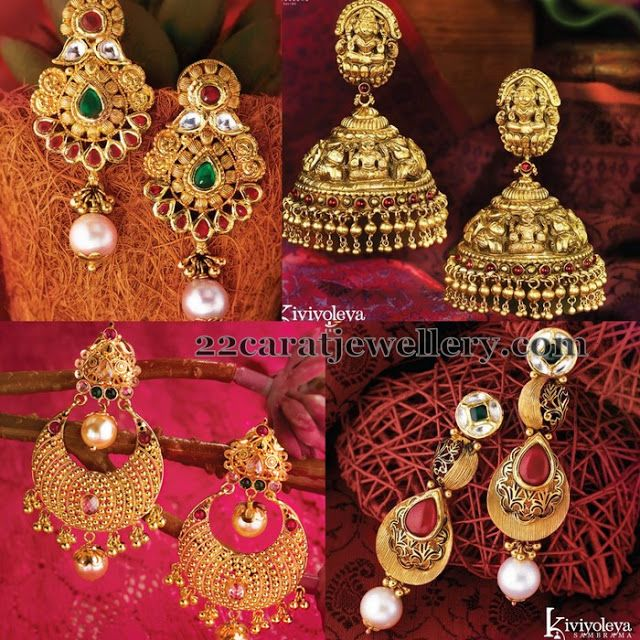 Top 25 Indian Antique Jewellery Designs For Women: Heavy Look Gold Earrings By GRT