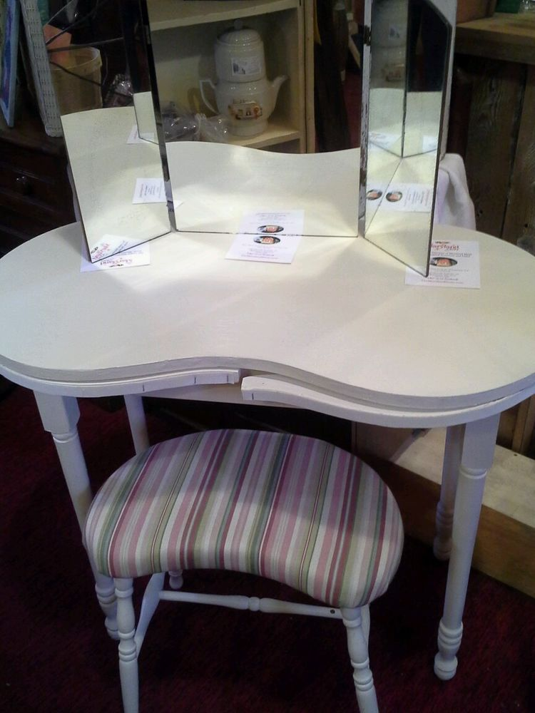 Mirrored Vanity Table And Stool: Vintage, Cream Painted, Kidney Shaped Vanity Table, Stool