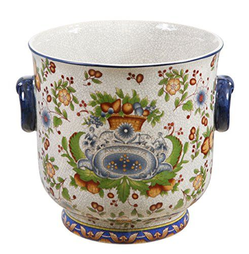 Winward Designs Tuscan Floral Cache Pot 10 Inch Diameter And 11 Inch Tall Winward Designs Ceramic Planters Planters Planter Pots