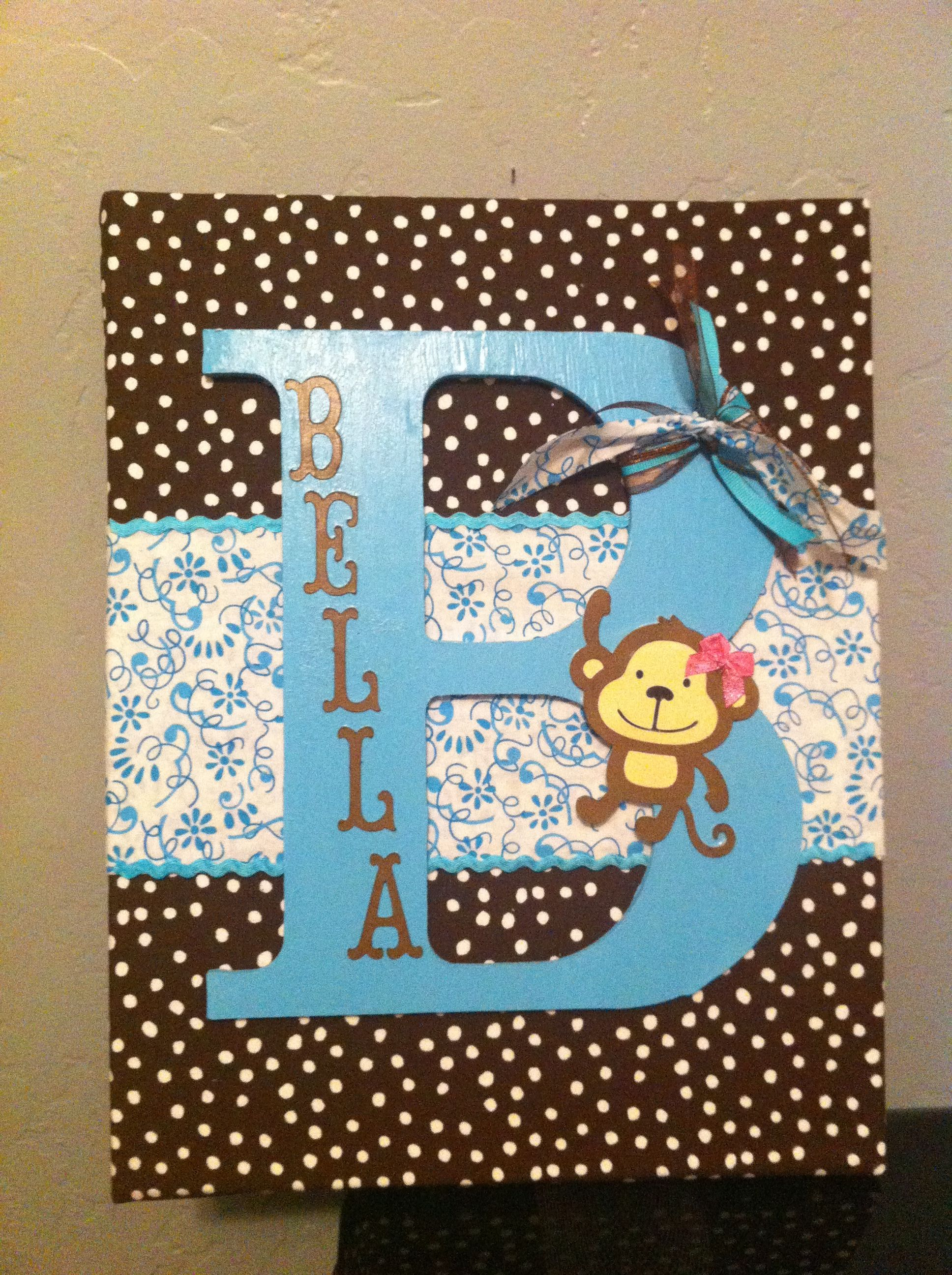 On Canvas Cover With Fabrics Paint Wooden Letter And Glued With Fabric Glue Mod Podge Card