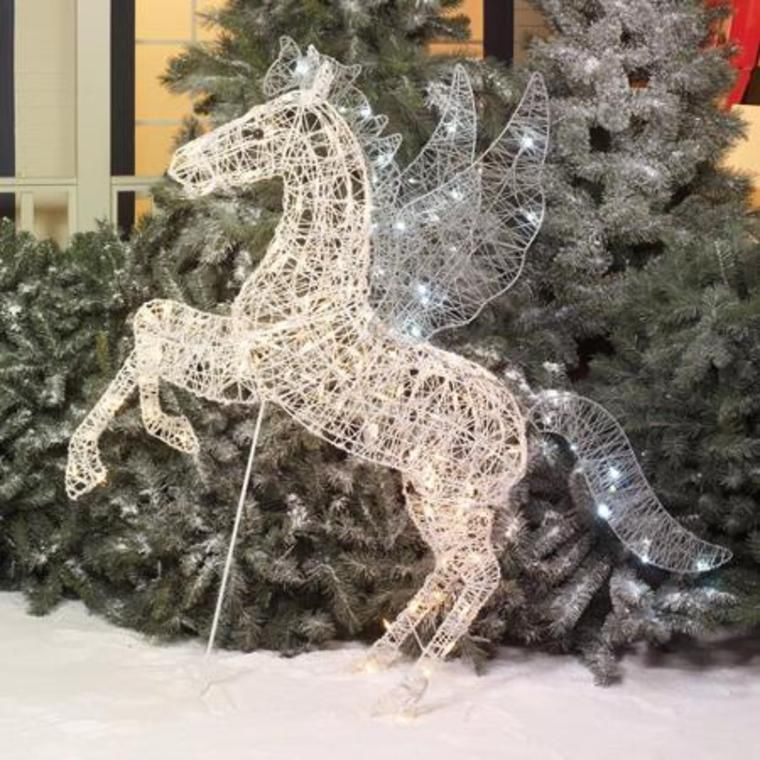 52 pegasus horse wings christmas yard decor pre lit led clear white twinkle christmas yard - Christmas Horse Yard Decorations