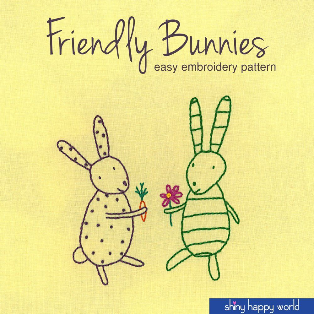 Friendly bunnies embroidery pattern an happy and world