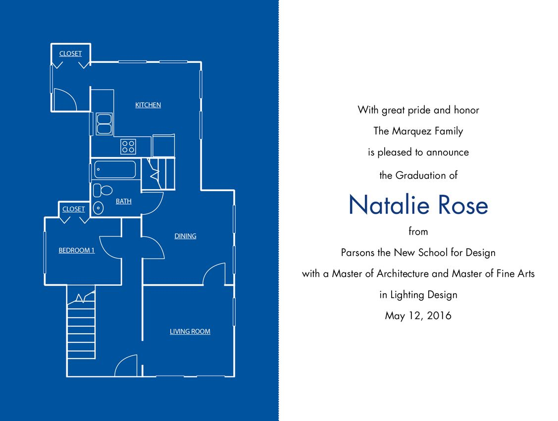 a floor plan graces this graduation invitation perfect for a