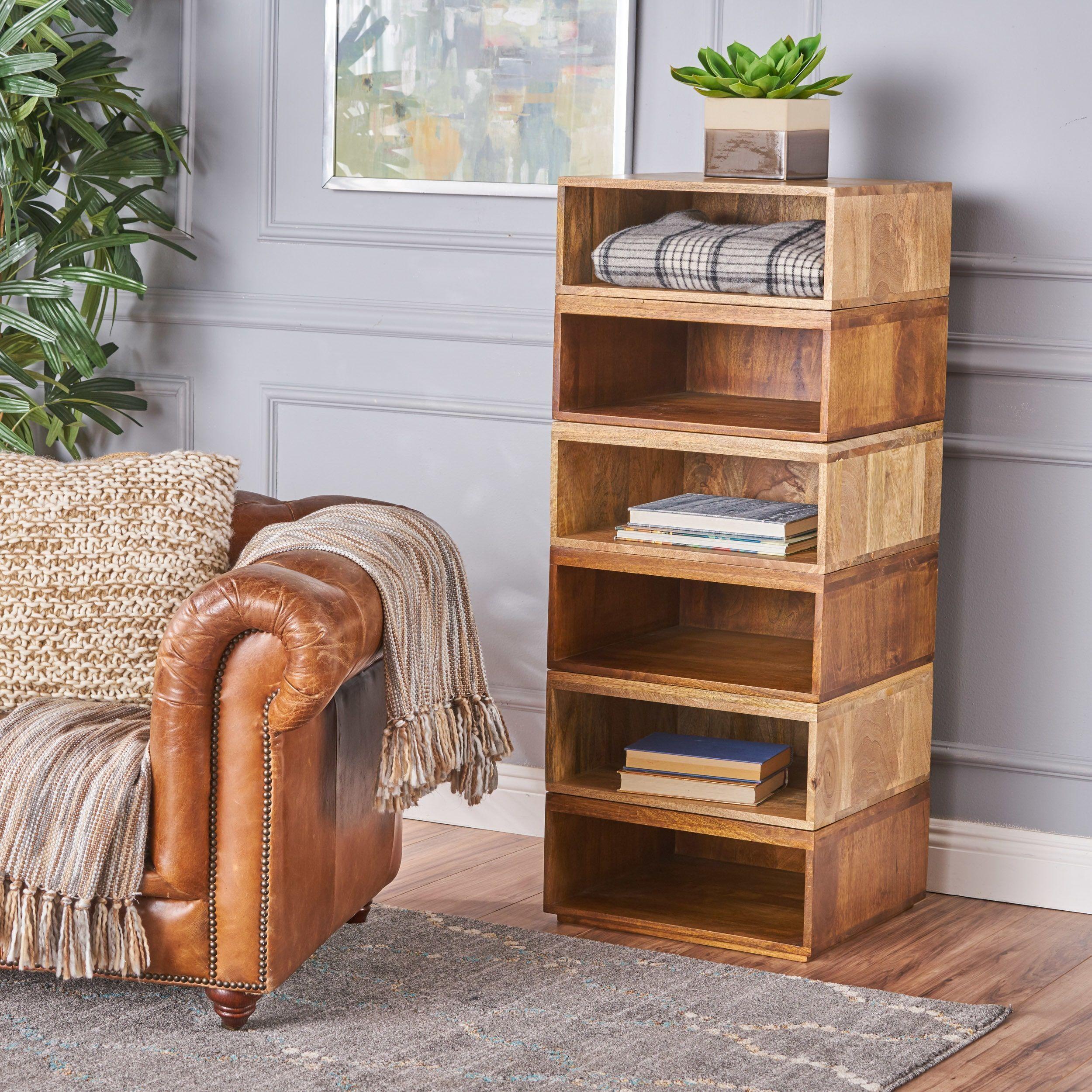 Hildegard 6 Shelf Wood Unit By Christopher Knight Home Natural  # Meuble Tv Home Cinema Industriel Diy