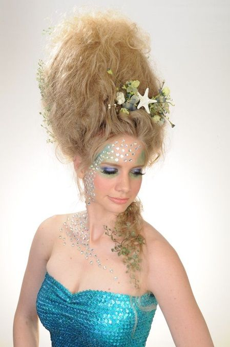 Avant Garde Mermaid Inspired Hairstyle With Sea Shell Details Select Blue Toned Make Up Color Palette And Sequined P Competition Hair Hair Shows Dramatic Hair