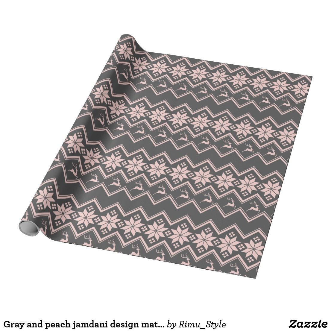 Gray and peach jamdani design matte wrapping paper pink