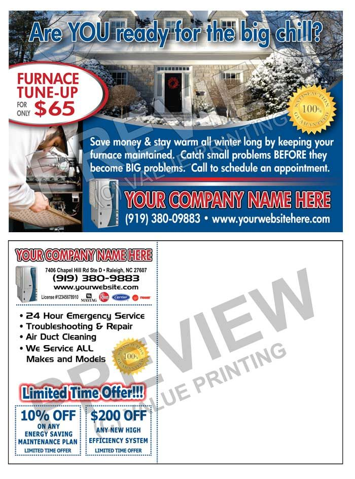 Hvac Winter Advertising Post Card Marketing Postcard Postcard Hvac