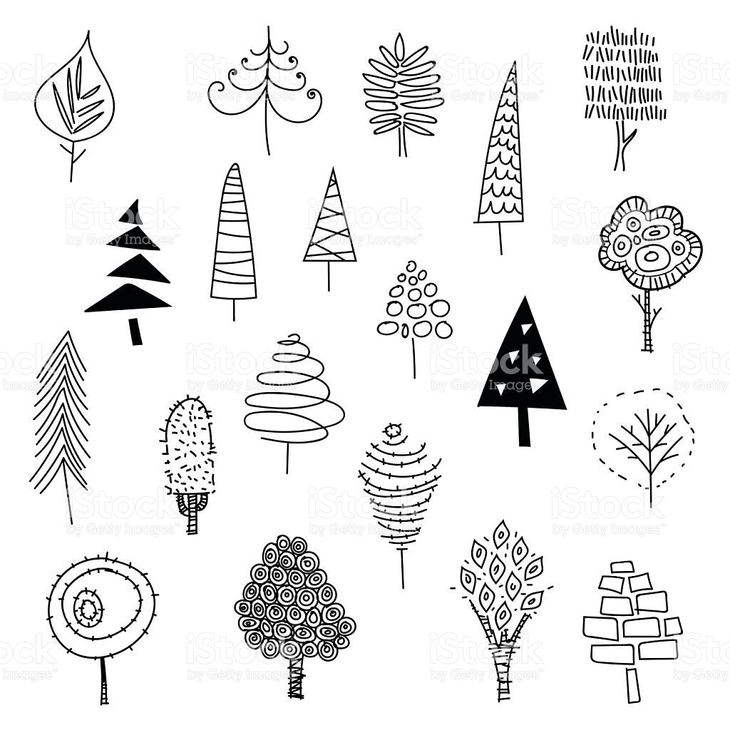 Vector illustration of a collection of Christmas trees