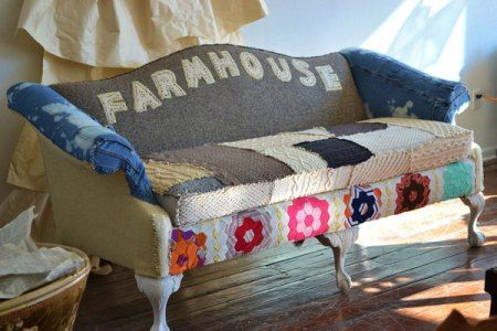 Farmouse Camelback 600 Reupholster Couch Diy Patchwork Furniture Vintage Couch