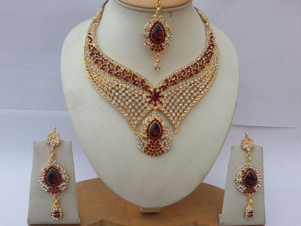 Indischer schmuck  Schmuck Indisch Bollywood Designer Style Set Klar Rot Gold Rhodium ...