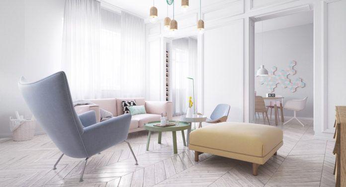 Skandinavische Interior Designs mit Pastell und leicht Farbe Holz ...