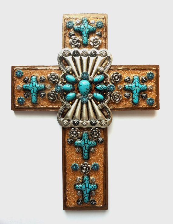 Crosses For Sale >> Cross Sale Ooak Found Object Mixed Media Turquoise Colored