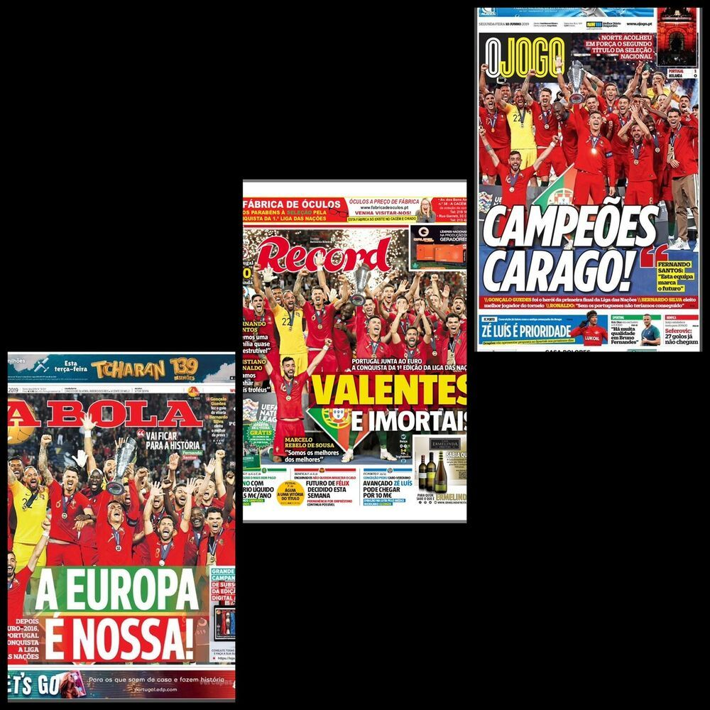1st Uefa Nations League Set Of 3 Sports Newspaper Portugal Champion 10 06 2019 In 2020 Cristiano Ronaldo Portugal League National