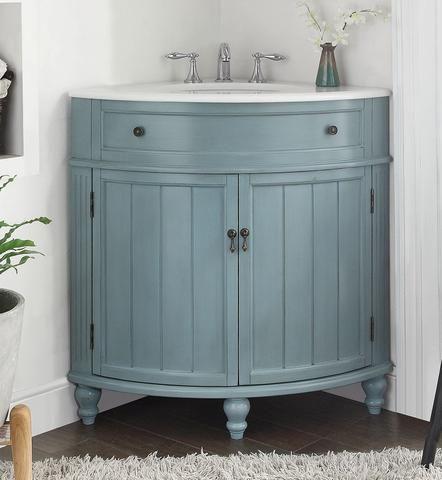 Light Blue Thomasville Corner Bathrrom Sink Vanity Gd