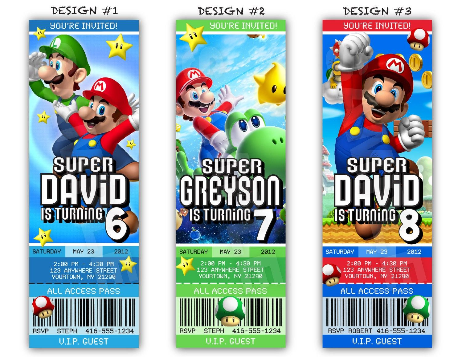 Super Mario Birthday Party Ticket Invitations - Printable File ...