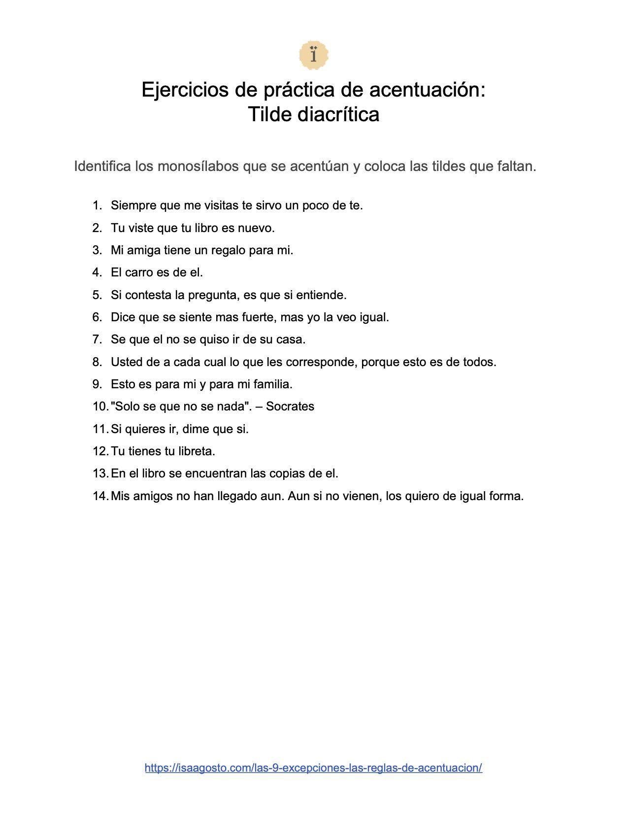 Ejercicios De Practica De Acentuacion Tilde Diacritica En