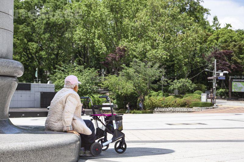 공원에 앉아있는 노인 노인 김찰칵 사진 노인 공원 노년 할머니 앉다 휠체어 보행기 유모차 백발 시니어 복지 요양 요양원 연금 생활 유모차 노인 백발