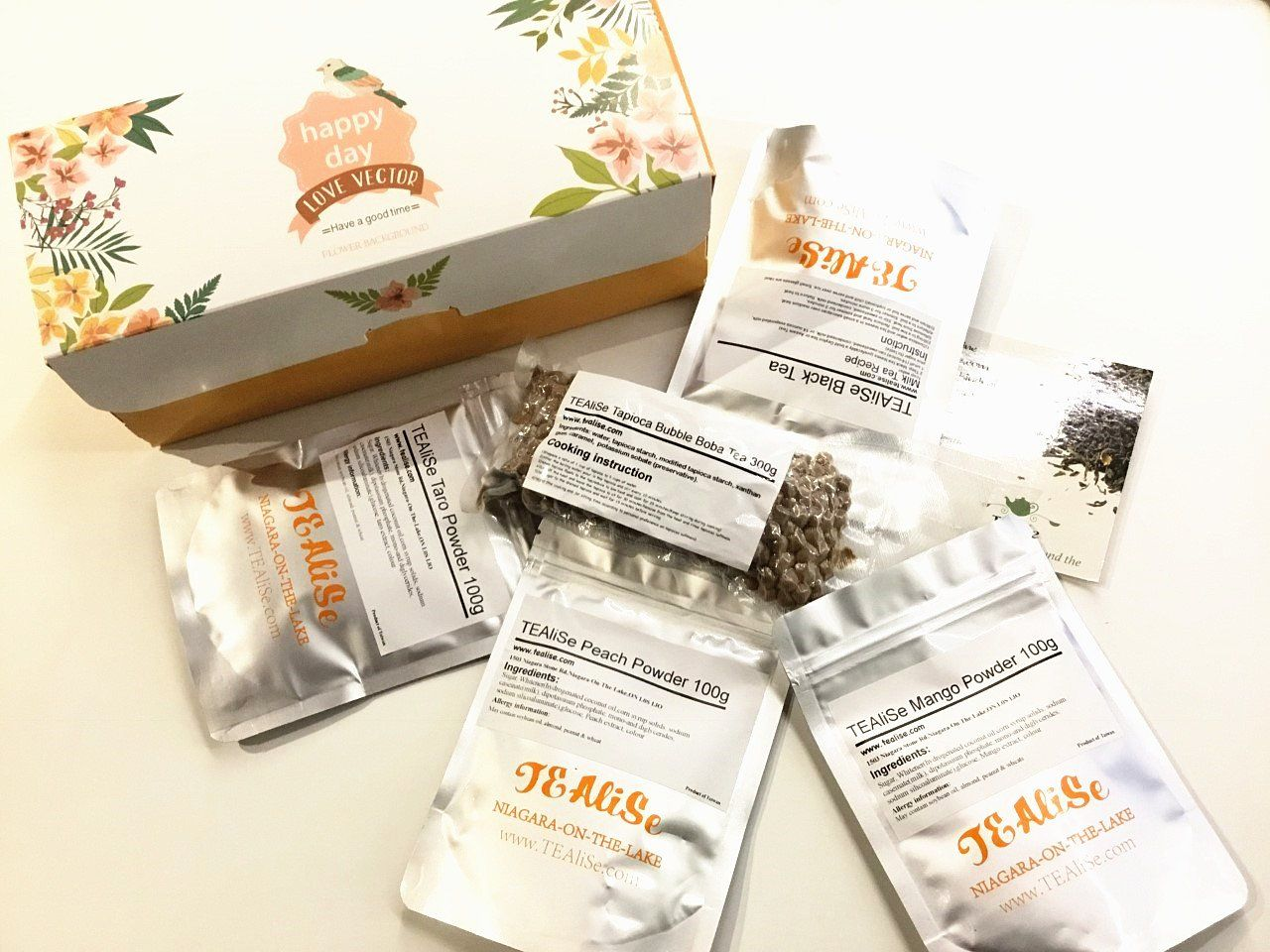 Best selling boba tea 3 flavors kit tea boba tapioca gift