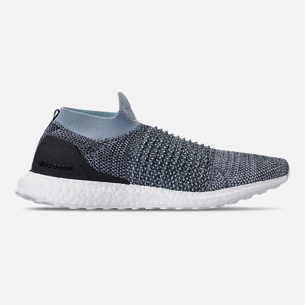 brand new d4dc8 929a0 Right view of Men s adidas UltraBOOST Laceless x Parley Running Shoes in  Raw Grey Carbon Blue Spirit