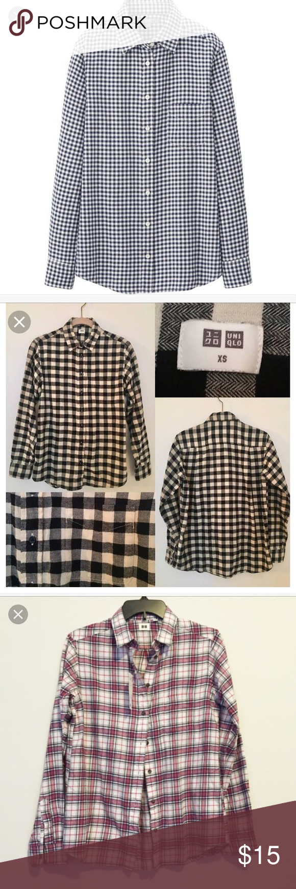Red and black flannel cardigan  Package Uniqlo flannel button down shirt  Shirt packaging Uniqlo