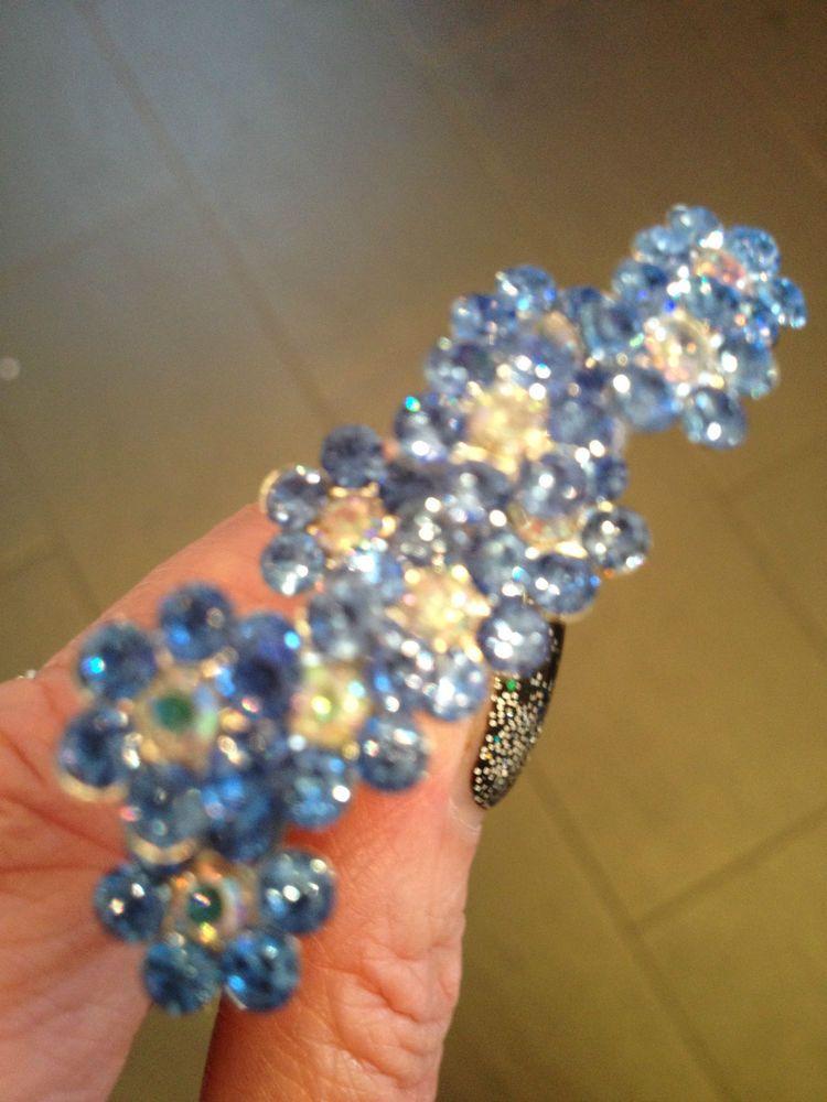 Bridal Wedding pale Blue flower Crystal Diamante Hair Pins Clips  x 10