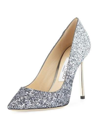 Jimmy Choo Romy Glitter Pointed-Toe 100mm Pumps Silver