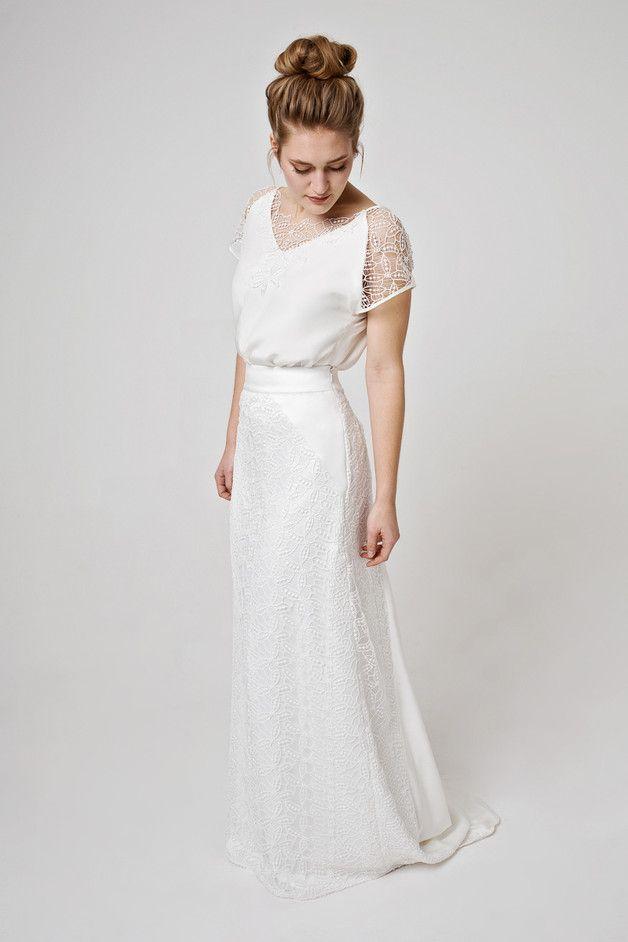 Elegantes Hochzeitskleid Im Vintagestil Brautkleid Mit Seidentop