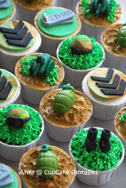 military cake ideas Birthday Cupcake for an army theme Cakes