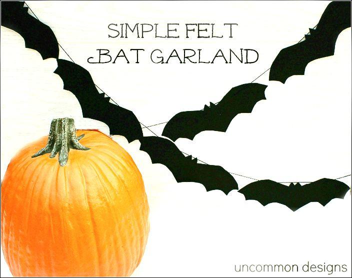 Simple Felt Bat Garland Garlands, Bats and Felting - fun and easy halloween decorations