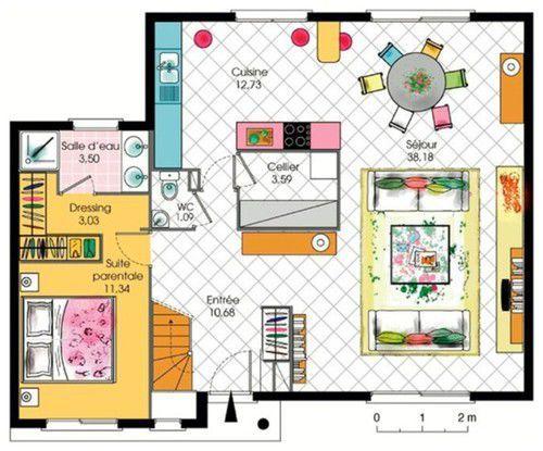 Maison contemporaine tage avec cuisine ouverte et suite for Plan de maison avec suite parentale
