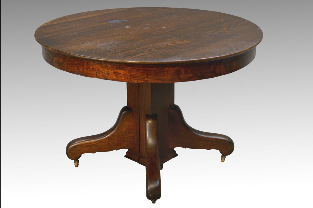 Sold Antique Round Oak Dining Table With Split Base Oak Dining