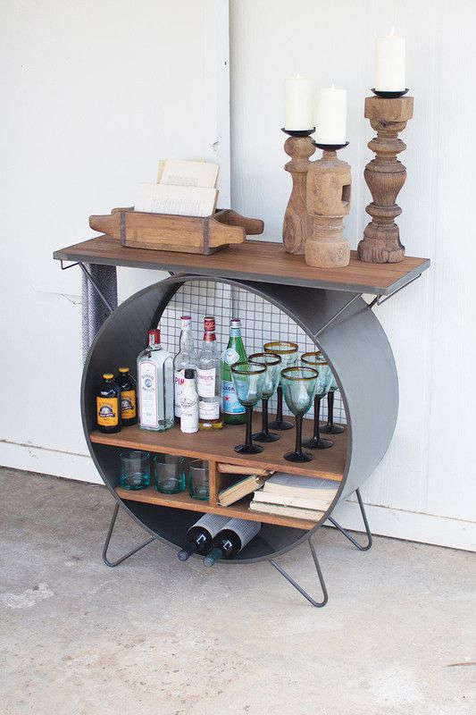 Best Round Metal Cubby Console With Recycled Slatted Wood Top 400 x 300