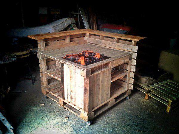 Mobili Pallet ~ Pallet mobile kitchen island mobile kitchen island pallet desk