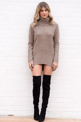 dress turtleneck turtleneck dress long sleeves long sleeve dress fall outfits fall sweater fall colors fall dress tunic dress tunic style fashion trendy thigh highs thigh high boots love women ootd date outfit beige beige dress all nude everything