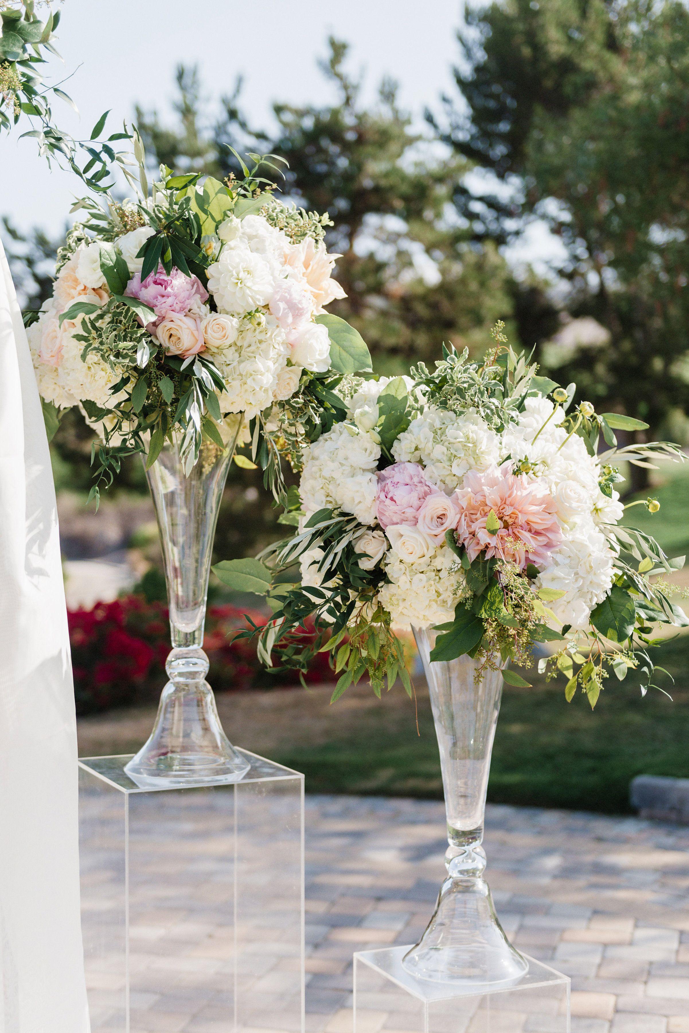 Tall Blush Centerpiece Ceremony Flowers Clear Acrylic Pedestal