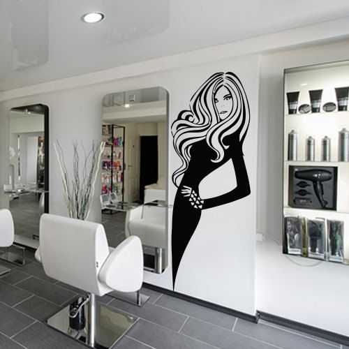 Wall decal decor decals art hair hairstyle by - Stickers salon design ...