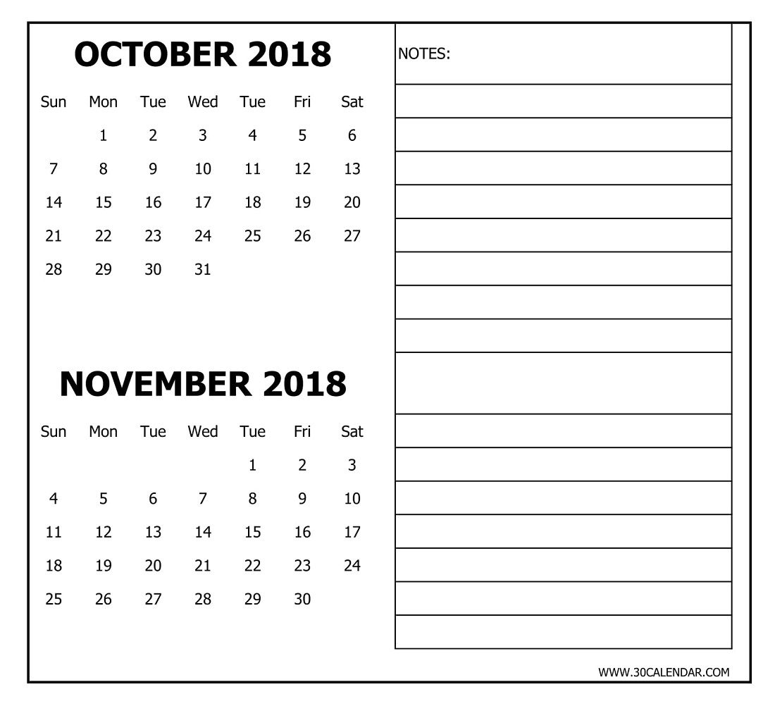 Print Out October November Calendar 2018 With Notes 2 Month Template