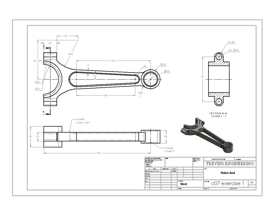 Piston Rod Drawing Sheet SolidWorks Pinterest