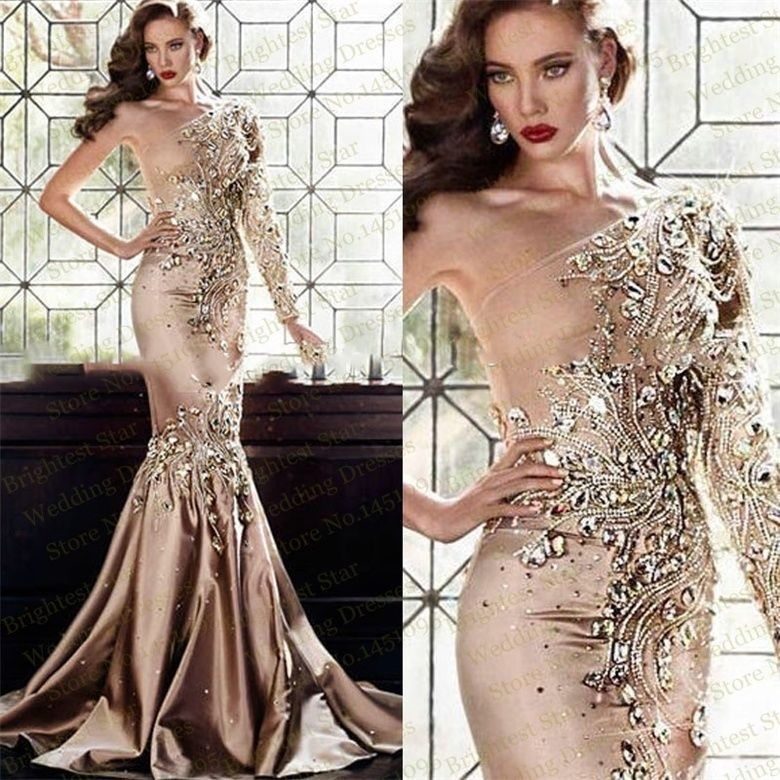 Sexy Crystal Long Formal Evening Dress Mermaid Celebrity Pageant Party Prom Gown #Handmade #2PiecePromDress #Formal