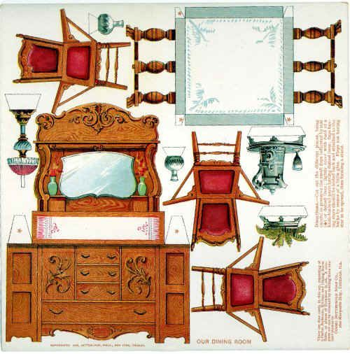 vintage cardboard dollhouses | ... from the same American dollhouse. The teaspoons are just under 1