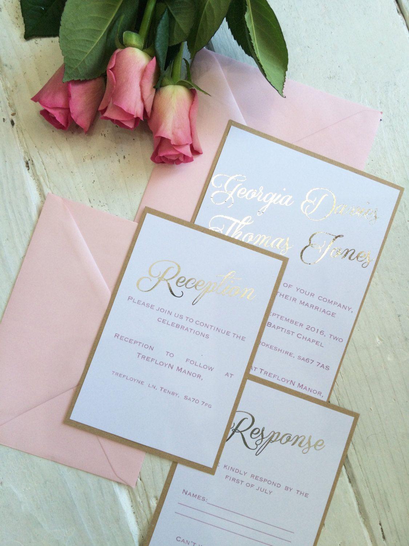 Classic elegant shabby chic silver foil wedding invitation set/suite ...