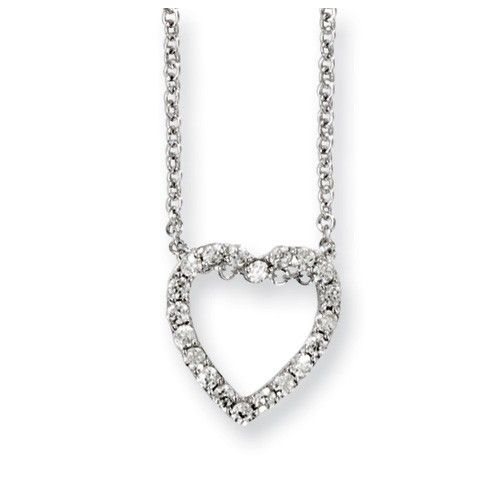 Sterling Silver CZ Open Heart 18in Necklace - Necklaces