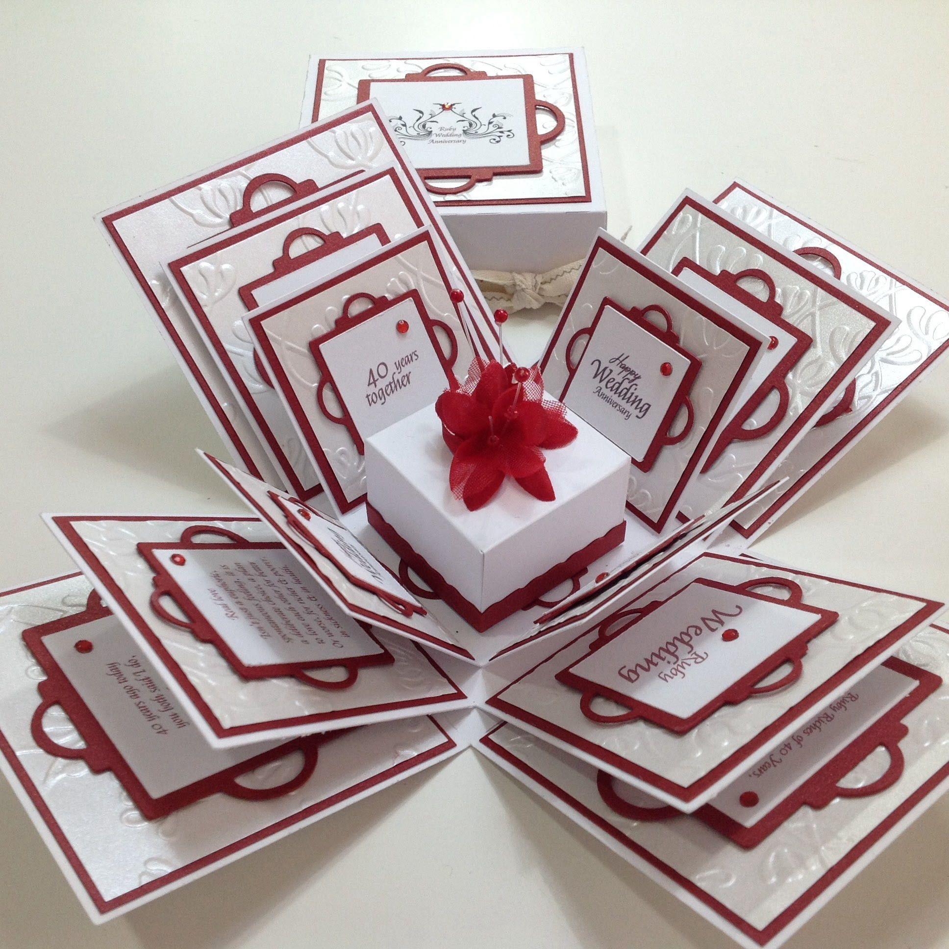 Exploding 40th ruby wedding anniversary box card