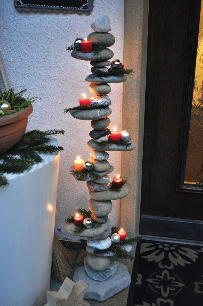 Advents-Stein-Etagere - Advent stone etagere - Steine, besondere flache Steine, feuerverzinkter, rostfreier Stahl ... #bastelnmitsteinen
