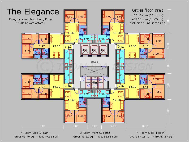 Hong Kong Elegance Block Residential Building Plan Apartment Plans Architectural Floor Plans