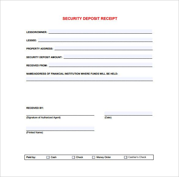 Security Deposit Receipt , Receipt Template Doc for Word Documents - printable cash receipt