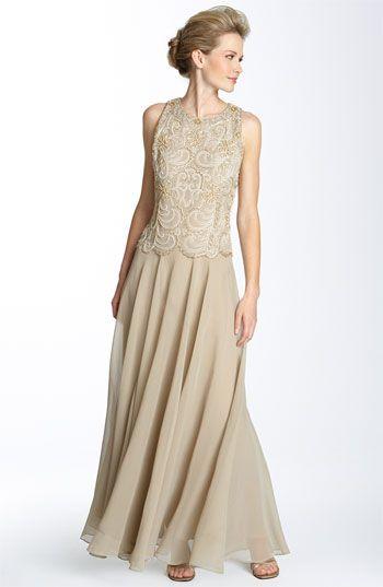 J Kara Beaded Mock Two Piece Dress