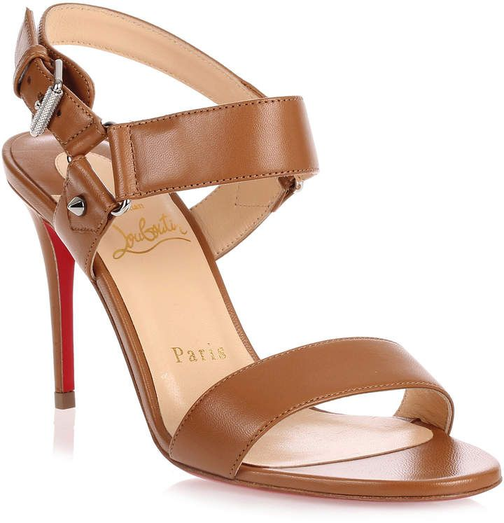 Sova Heel 85 brown leather sandal Christian Louboutin 6hB6gdhF