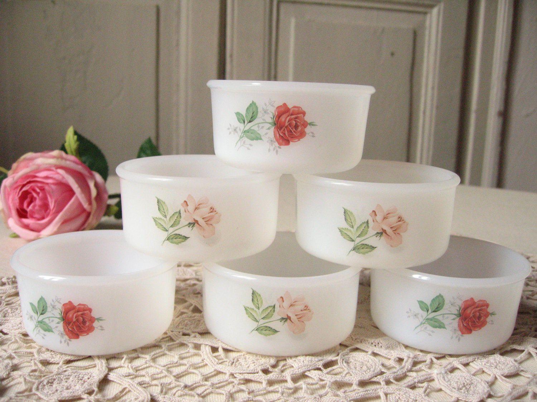 Reserved Sruba / 6 ramekins Arcopal Roses pattern milk glass / red ...