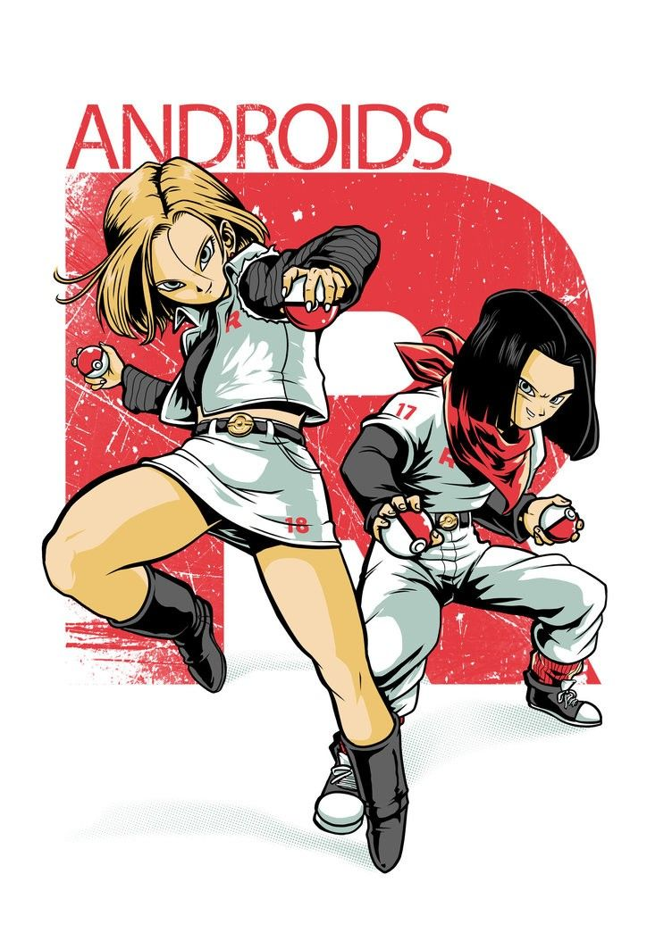 Android 17 and Android 18 meet Pokemon Dragon ball art